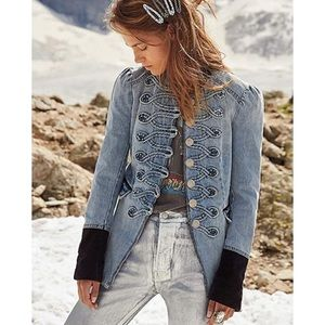 NWT-FP Military Chic Denim/Corduroy Accent Jacket